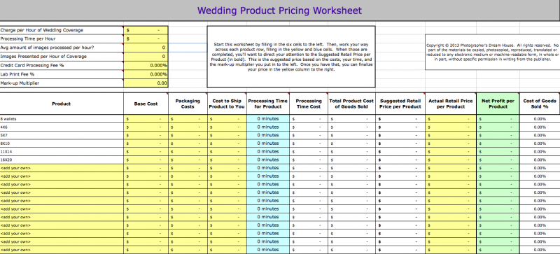 Wedding Product Pricing