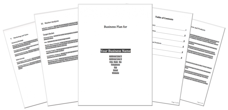 Business plan cover page template