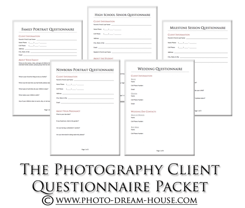 Photography Client Questionnaire Packet Photographers Dream House - House design questionnaire for clients