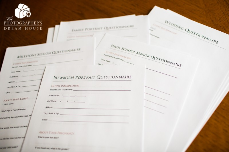 Photography Client Questionnaire Packet from The Photographer's Dream House