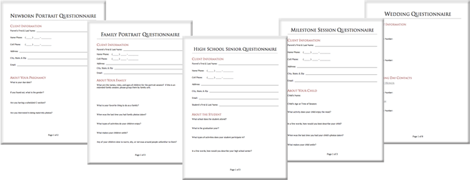 Photography Client Questionnaires