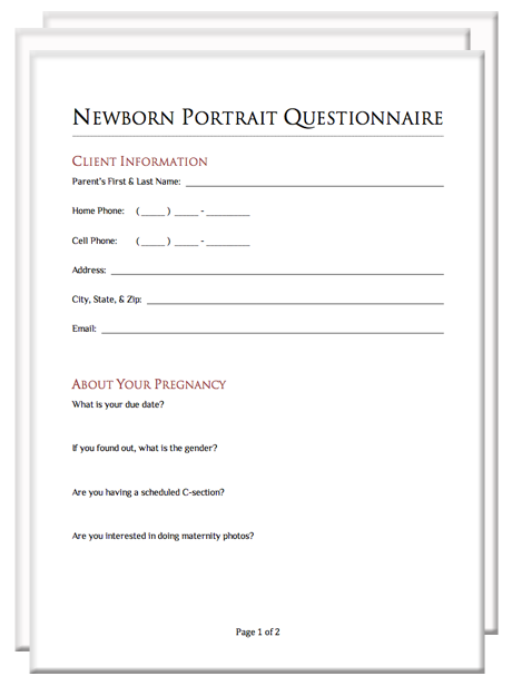Wedding Photographer Questionnaire For Clients - Wedding ...
