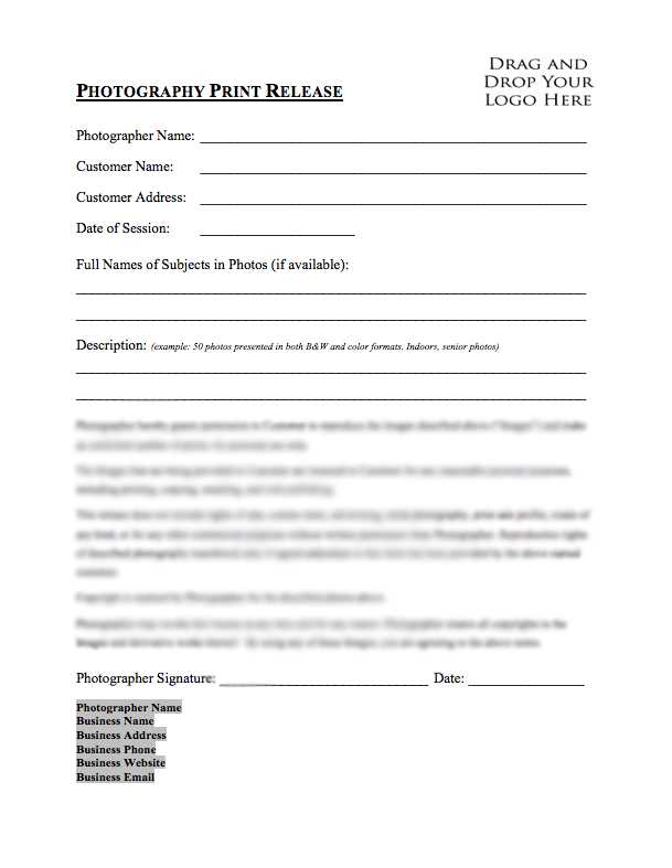 Wedding photography starter bundle for Free photography print release form template