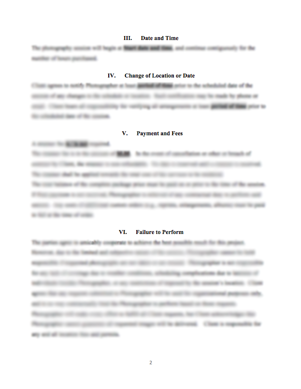 Portrait Photography Service Contract – Service Contract