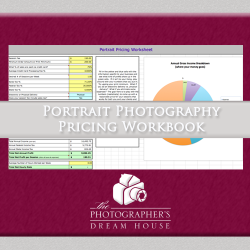 Portrait Photography Pricing Workbook - How to price a photography business - The Photographer's Dream House