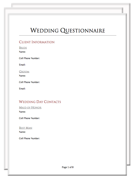 Photography Client Questionnaire Packet