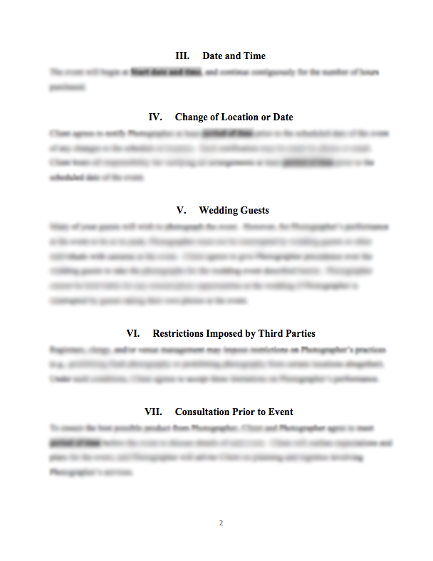 Wedding photography service contract for Contract for wedding photography services