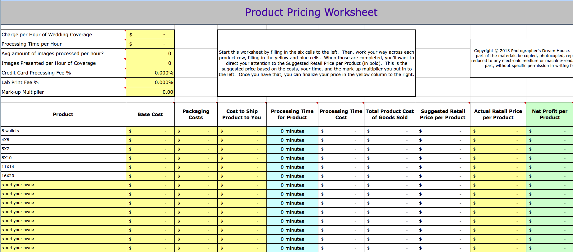 Wedding Photography Pricing Workbook
