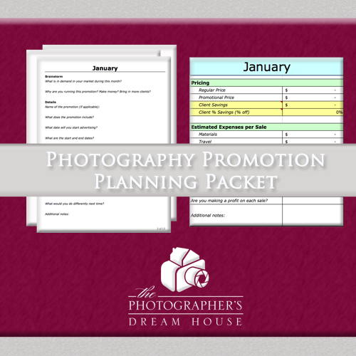 Photography Promotion Planning Packet - Get more clients by planning out your photography promotions!
